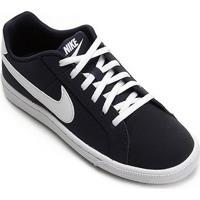 Tênis Infantil Couro Nike Court Royale Masculino - Masculino-Preto+Gelo
