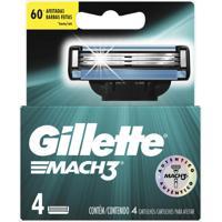 Lâminas Para Aparelho De Barbear Gillette Mach3 4 Unidades
