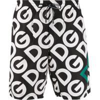 Dolce & Gabbana Short De Natação Com Estampa De Logo - Preto