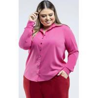 Camisa De Tecido Plano Rosa