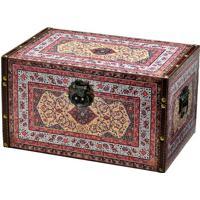 Caixa Baú Geométrica- Vermelho Escuro & Amarela- 24Xmabruk