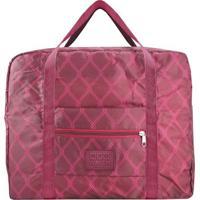Bolsa De Viagem Dobrável- Bordô & Rosa Escuro- 36,5Xjacki Design