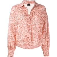 Pinko Floral Print Boxy-Fit Blouse - Rosa
