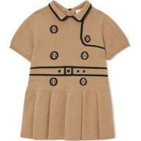 Burberry Kids Vestido Trompe L'Oeil Em Lã E Cashmere Com Padronagem - Neutro
