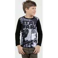 Camiseta Infantil Estampa Star Wars Manga Longa Disney