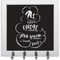 Quadro Oppen House Porta Chaves 24X24Cm Frases As Melhores Coisas Decorativo Chaveiro Moldura Branca
