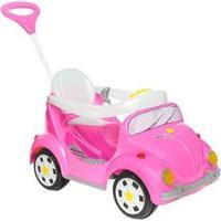 Carrinho De Passeio Infantil A Pedal 1300 Fouks Com Empurrador Emite Sons - Feminino-Rosa+Branco