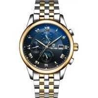 Relógio Tevise 9008 Masculino Automático Pulseira De Aço - Preto E Dourado