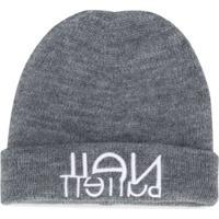 Neil Barrett Kids Logo Embroidered Hat - Cinza