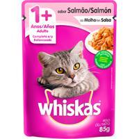 Ração Para Gatos Whiskas Adulto 1+ Anos Sachê Sabor Salmão Ao Molho Com 85G