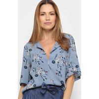 Blusa Maria Filó Floral Decote Costas Feminina - Feminino-Azul