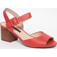 Sandália Em Couro - Vermelha- Salto: 6,5Cmjorge Bischoff