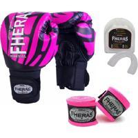 Kit Boxe Muay Thai Fheras New Top Luva + Bandagem Elite Rosa 006