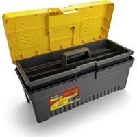 Caixa Plástica Para Ferramenta Injetada Utility Iii Preta E Amarela 17 L