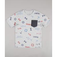 Camiseta Infantil Estampada Marítima Com Bolso Manga Curta Cinza Mescla Claro