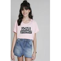 "Blusa Infantil Cropped Ampla Love Dress ""Love Yourself"" Manga Curta Decote Redondo Rosa Claro"