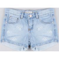 Short Jeans Infantil Com Bordado De Arco-Íris Azul Claro