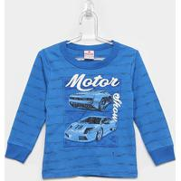 Camiseta Infantil Brandili Manga Longa Motor Show Masculina - Masculino-Azul