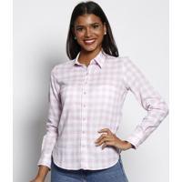 Camisa Xadrez Em Linho- Branca & Rosa Claro- Vip Resvip Reserva
