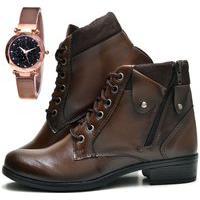 Bota Coturno Cano Curto Fashion Com Relógio Gold Dubuy 603El Marrom