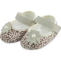 Sapato Bebê Soffete Onça Bege