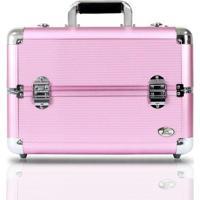Maleta Profissional De Maquiagem Jacki Design De Alumínio +Abs - Feminino-Rosa