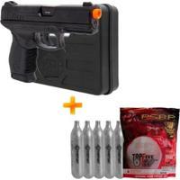 Pistola De Airsoft Co2 Pt24/7 Slide Metal + Case + 5 Cilindros Co2 + Bbs - Unissex