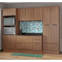 Conjunto Cozinha Nogueira Com Rodapé 08 Módulos Marrom 13 Portas - Multimóveis