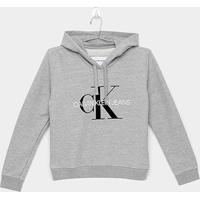 Blusa Infantil Calvin Klein Moletom Ckj Ml Est Logo Ck - Masculino-Cinza