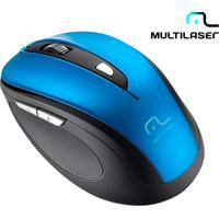 Mouse Óptico Sem Fio Multilaser Comfort Com 6 Botões, Função Multimídia, Textura Emborrachada, Receptor Nano Usb, Resolução Ajustavel E Azul - Mo240