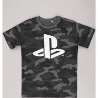Camiseta Infantil Playstation Estampada Camuflada Manga Curta Chumbo