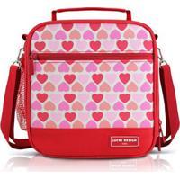 Lancheira Térmica Infantil Jacki Design Coração Microfibra Feminina - Feminino-Vermelho