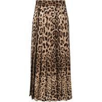 Dolce & Gabbana Leopard Print Pleated Maxi Skirt - Marrom