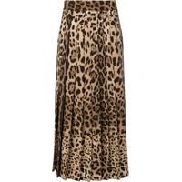 Dolce & Gabbana Saia Pregada Com Animal Print - Marrom