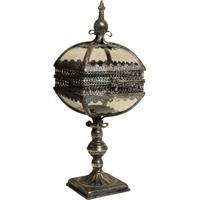 Lanterna Decorativa De Metal Envelhecido E Vidro Arzila