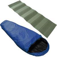 Saco De Dormir Tipo Sarcófago Nautika + Isolante Térmico Dobrável 1,80M Azteq - Unissex