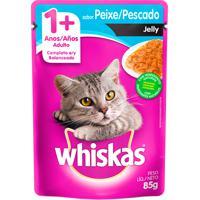 Ração Para Gatos Whiskas Jelly Adulto 1+ Anos Sachê Sabor Peixe Com 85G