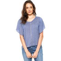 Blusa Tantan Estampada Azul/Branca