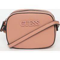Bolsa Transversal ''Guessâ®''- Rosãª- 13,5X18X5,5Cm