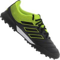 Chuteira Society Adidas Copa 19.3 Tf - Adulto - Preto/Amarelo Fluor