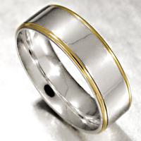 Aliança De Ouro Casamento Branco Com 1 Filete Em Ouro 18Kl - As0537 + As0538