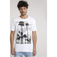 Camiseta Masculina Coqueiros Manga Curta Gola Careca Branca