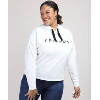 Blusão De Moletom Feminino Plus Size Friends Com Capuz Off White
