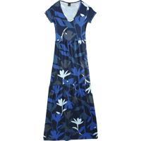Vestido Azul Longo Floral Com Franzido