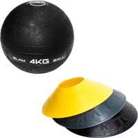 Kit 12 Half Cones Chapéu Chinês Pretorian Hc-Pp + Bola Medicine Slam Ball 4 Kg Liveup Ls3004-4 - Unissex