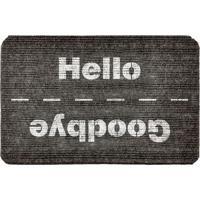 """Capacho Antiderrapante """"Hello/Goodbye""""- Cinza Escuro & Bwevans"""