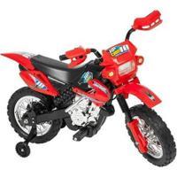 Moto Elétrica Infantil Cross - Unissex-Vermelho+Preto