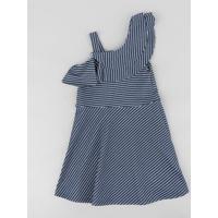 8251eb3212746 Vestido Infantil Evasê Um Ombro Só Listrado Com Babado Azul Marinho