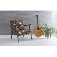 Poltrona Decorativa Para Sala Acacia Verniz Capuccino Tec.S1551 Cerveja 72X73X85 Cm