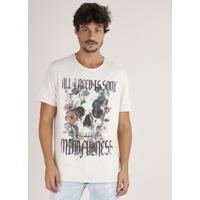 Camiseta Masculina Caveira Com Flores Manga Curta Gola Careca Bege Claro